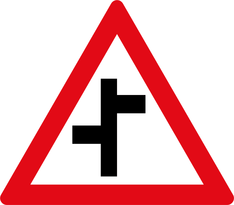 Staggered side-road junctions ahead W110
