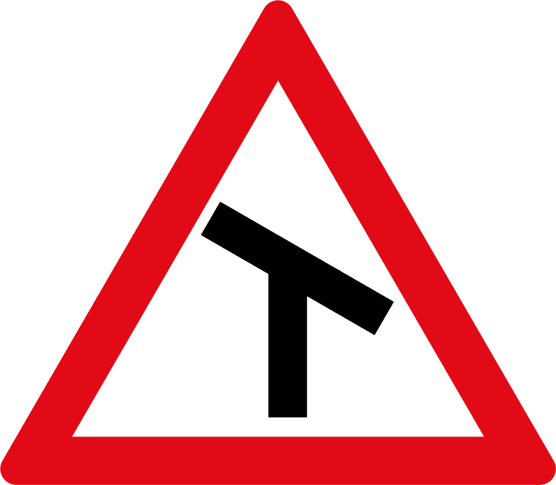 Skewed T-junction ahead W105