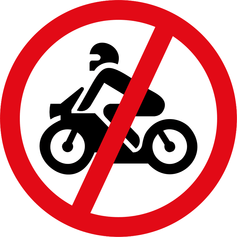 Motorcycles prohibited R222