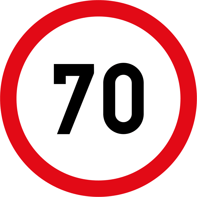 Speed limit of 70 km/h R201-70