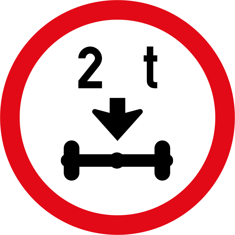 Vehicles exceeding 2 tonnes on a single axle prohibited R203