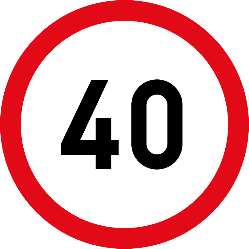 Speed limit of 40 km/h R201-40