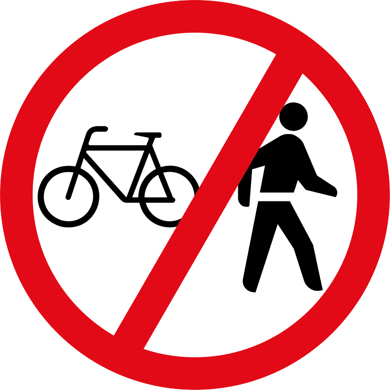 Cyclists and pedestrians prohibited R220