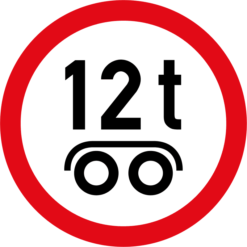 Vehicles exceeding 12 tonnes on a tandem axle / bogie axle prohibited R245