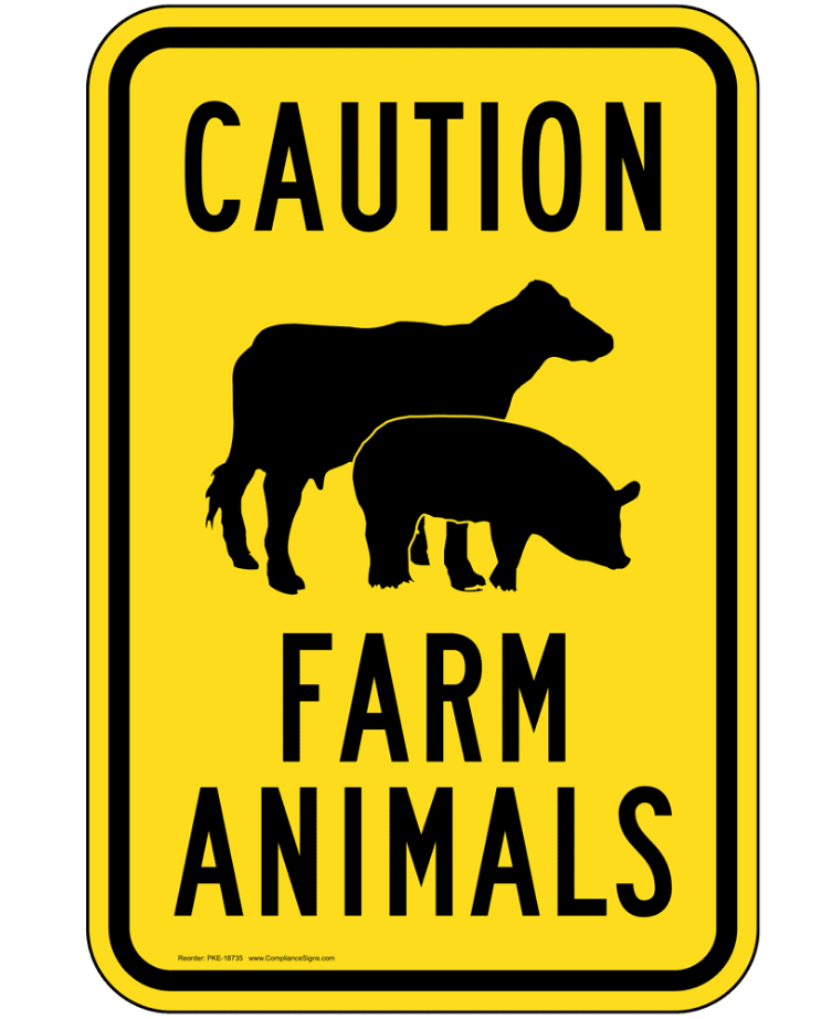 Caution Farm Animals FM998