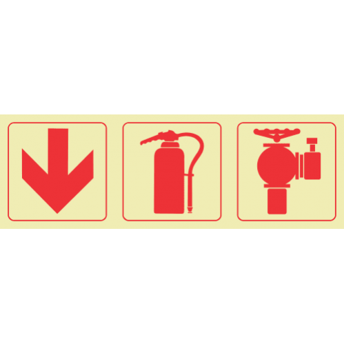 Arrow Down & Fire Extinguisher & Fire Hydrant Photoluminescent Sign GP47