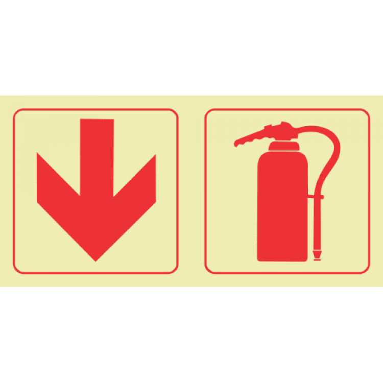 Arrow Down & Fire Extinguisher Photoluminescent Sign GP50