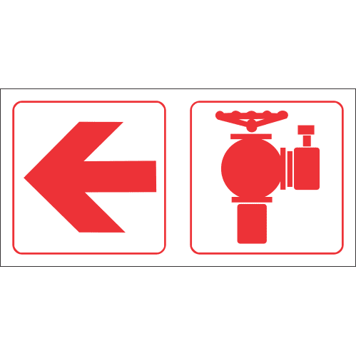 Fire Hydrant Left Safety Sign FB88