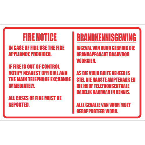 Fire Notice Safety Sign FB46