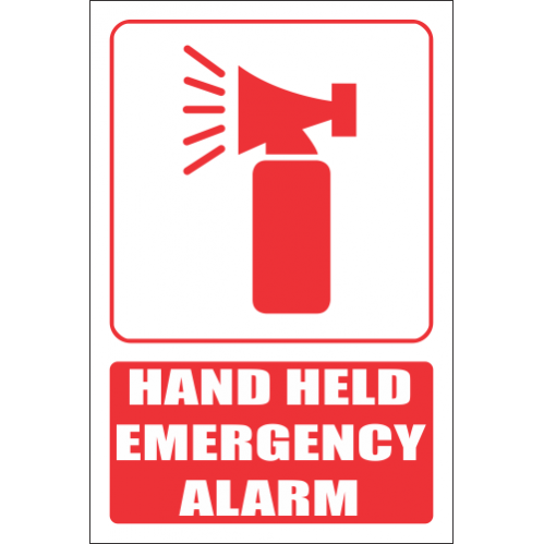 Hand Held Emergency Alarm Explanatory Safety Sign FB26
