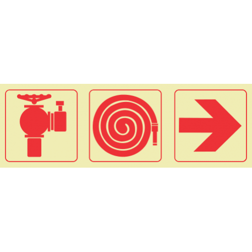Fire Hydrant & Fire Hose Reel & Arrow Right Photoluminescent Sign GP46