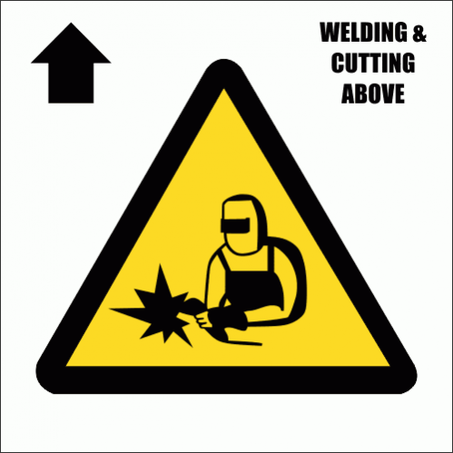 Welding And Cutting Above Sign CS16