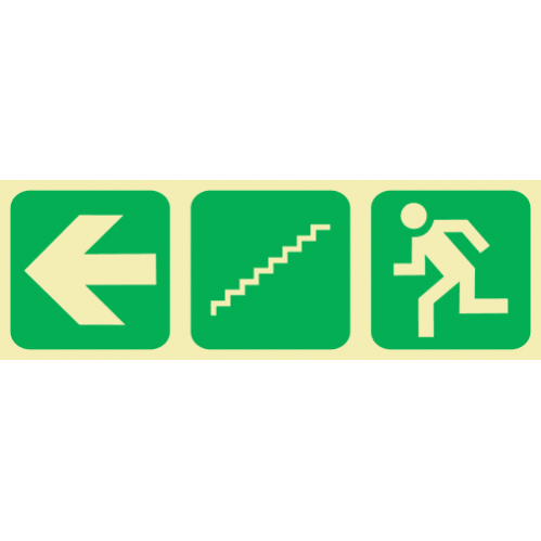Arrow Left & Stairs Going Down & Running Man Photoluminescent Sign GP21