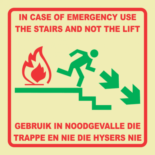 Emergency Stairs Right Photoluminescent Sign GP90