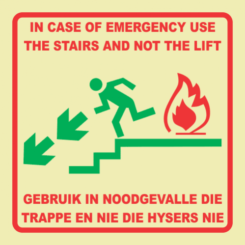 Emergency Stairs Left Photoluminescent Sign GP91