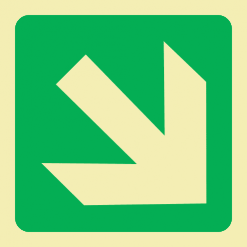 Diagonal Arrow Down & Right Photoluminescent Sign GP35