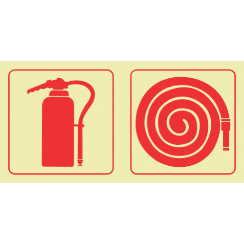 Fire Extinguisher & Fire Hose Reel Photoluminescent Sign GP59