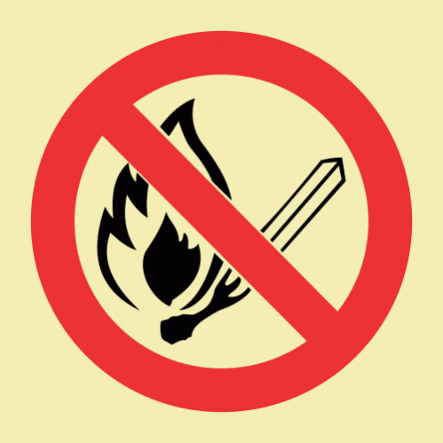 No Open Or Naked Flames Photoluminescent Sign GP63