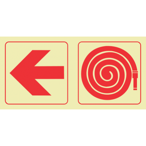 Arrow Left & Fire Hose Reel Photoluminescent Sign GP54