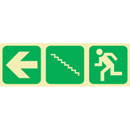 Arrow Left & Stairs Going Up & Running Man Photoluminescent Sign GP23